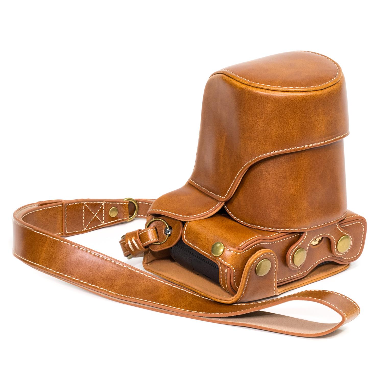 Megagear panasonic lumix dmc gx85 gx80 ever ready leather for Housse lumix gx80