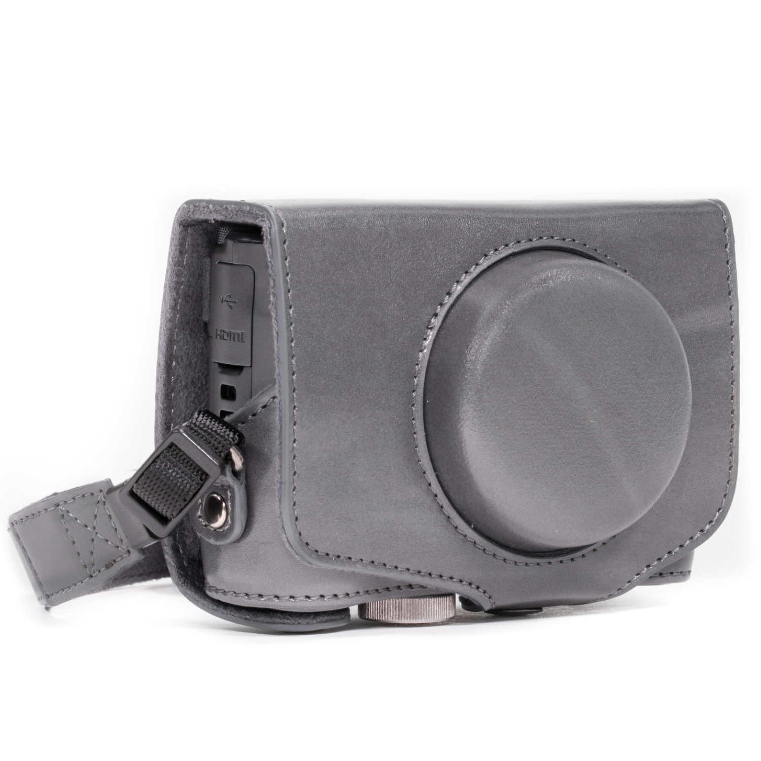 Megagear Canon Powershot Sx720 Hs Ever Ready Leather Camera Case Digital With Strap Gray Mg678